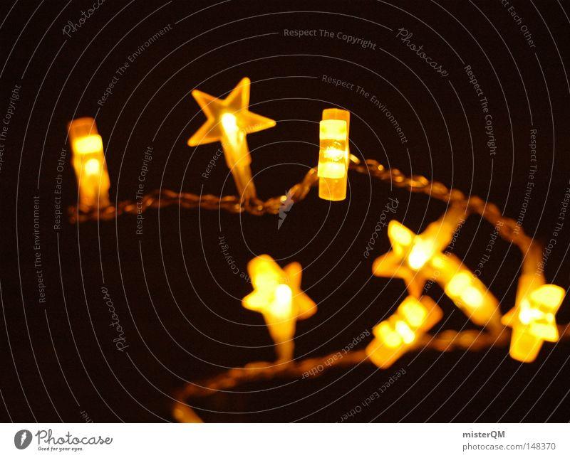 Sternenkette - Weihnachten ist zum Lichteln da. Weihnachten & Advent schön Farbe Erholung ruhig Freude Haus Ferne Winter dunkel kalt gelb Wärme Beleuchtung
