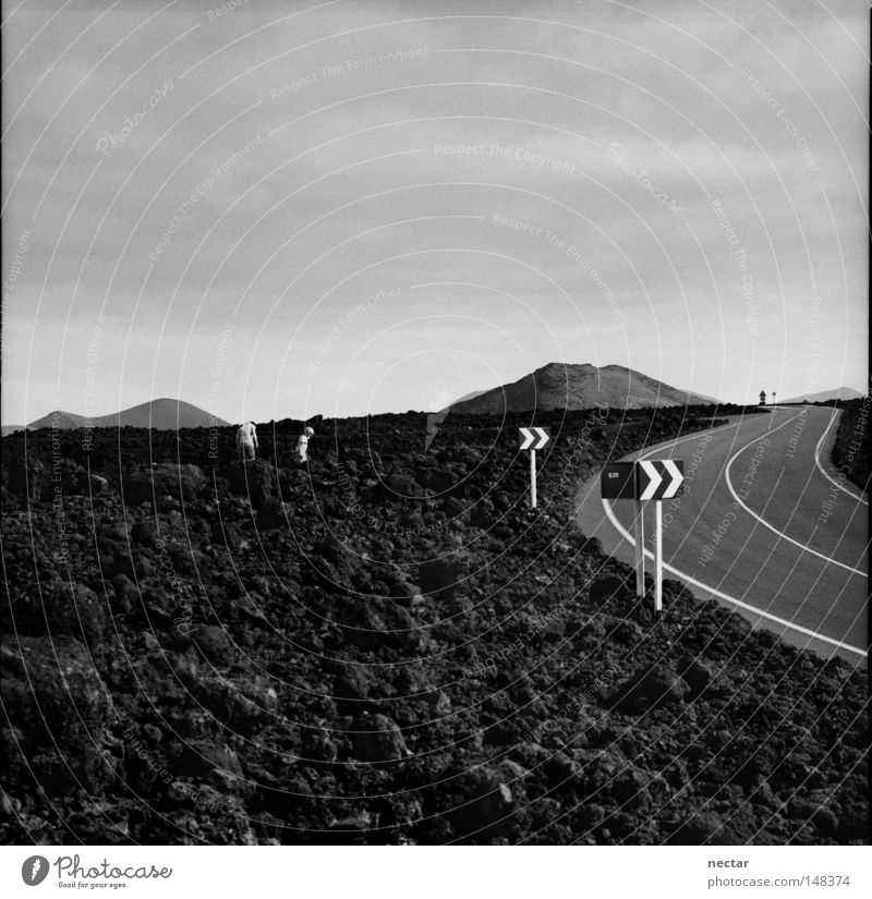 Road To Success In The Desert Of Ignorance wüst Wüste Straße Erfolg Arbeit & Erwerbstätigkeit Schilder & Markierungen Pfeil Pfeile Felsen Lava Lanzarote Vulkan