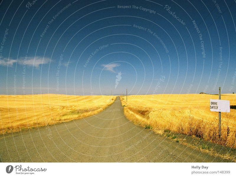 Fahr Vorsichtig! schön Himmel blau Sommer Ferien & Urlaub & Reisen Wolken gelb Ferne Straße Wege & Pfade Wärme Feld Hintergrundbild gold Horizont Kornfeld