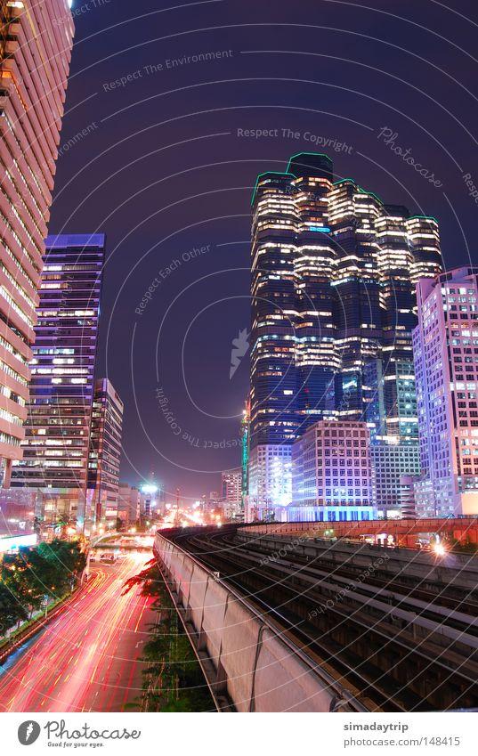 Gebäude Thailand Hochhaus Eisenbahn Zukunft Turm Nachthimmel Bangkok