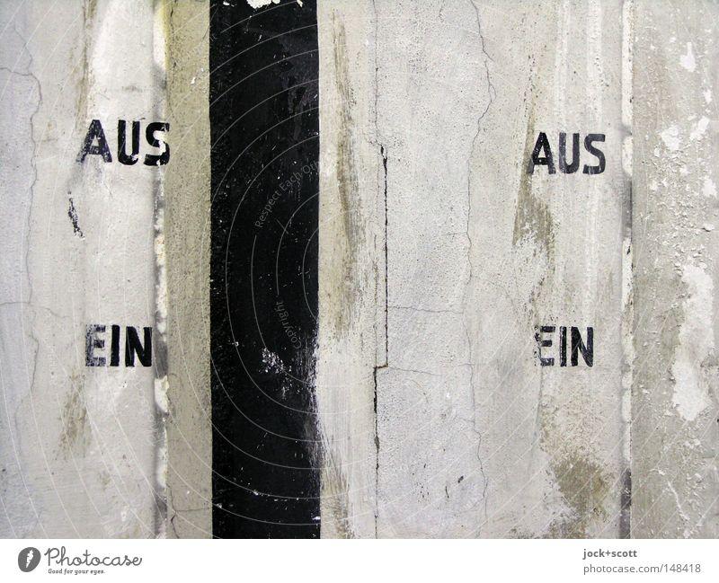 weder AUS noch EIN weiß Wand Mauer Linie Stimmung Ordnung Schilder & Markierungen Perspektive Schriftzeichen paarweise einzigartig Zeichen planen Konzepte & Themen fest Information