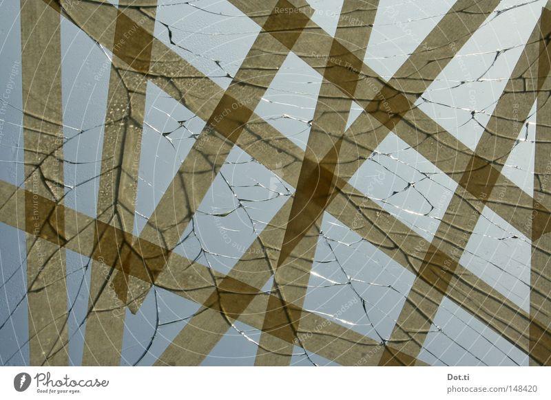 Scheibenkleister Himmel Fenster Linie Hintergrundbild Glas kaputt Streifen festhalten skurril Verbindung Zusammenhalt gebrochen chaotisch bizarr Material