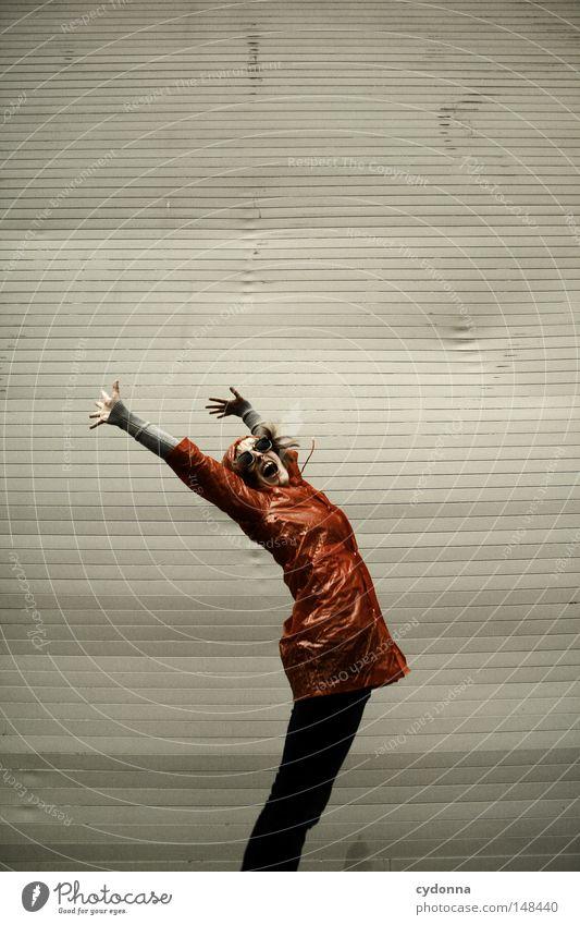 It's raining men Frau Mensch schön Freude Einsamkeit Leben Gefühle springen Spielen Stil Regen lustig fliegen Zeit Bekleidung