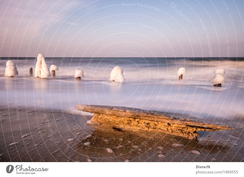 Frostig Umwelt Natur Landschaft Sand Wasser Himmel Wolkenloser Himmel Horizont Sonnenlicht Winter Schönes Wetter Wind Eis Wellen Küste Strand Ostsee Meer blau