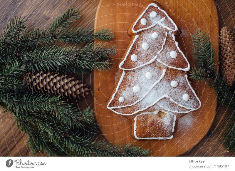 Weihnachten & Advent grün weiß Baum schwarz gelb Essen Lebensmittel braun orange gold Geburtstag Kuchen Dessert Brot Schokolade