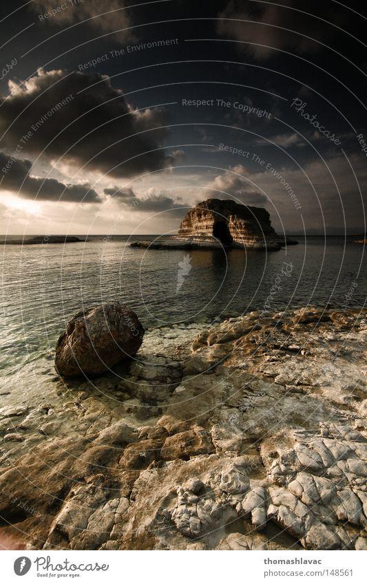 Himmel Meer Sommer Strand Stein Küste Asien Syrien Höhle Naher und Mittlerer Osten
