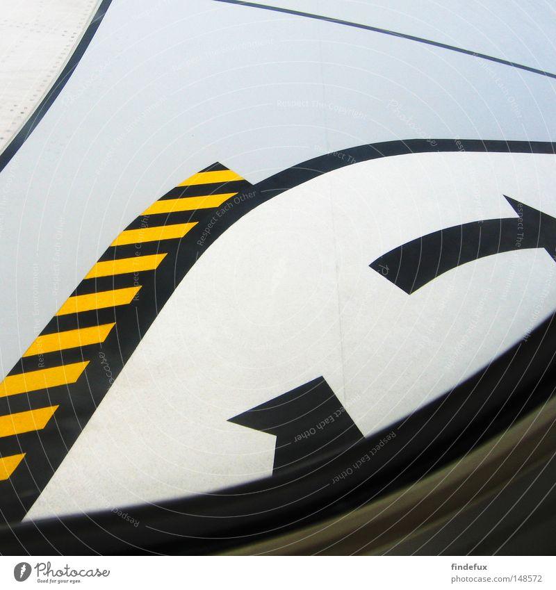 follow the sign abstrakt Linie Strukturen & Formen Ordnung Grenze Verbote Warnhinweis Tragfläche Flugzeug Pfeil Flughafen betreten verboten gelb/schwarz