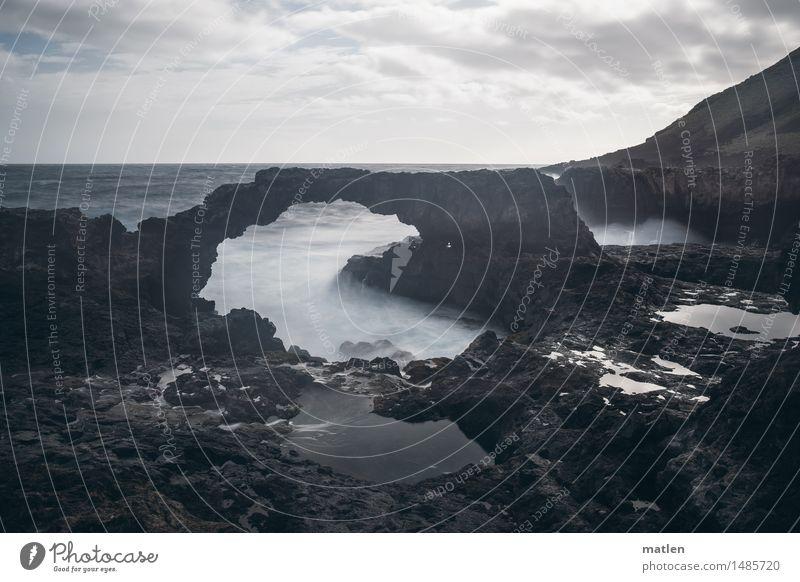 watergate Natur Landschaft Wasser Himmel Wolken Horizont Wetter Wind Sturm Felsen Wellen Küste Bucht Fjord Riff Meer Menschenleer dunkel blau braun weiß Gischt