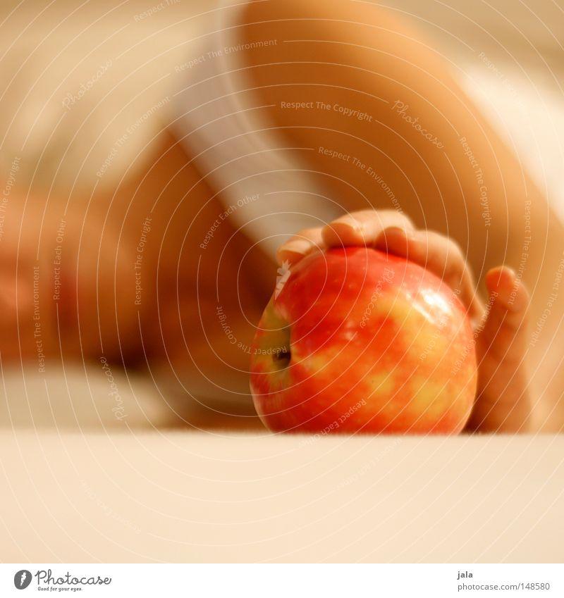 eva Frau Hand rot Ernährung hell Gesundheit Erwachsene Arme Frucht liegen Apfel sanft Diät Vitamin Bioprodukte Zärtlichkeiten