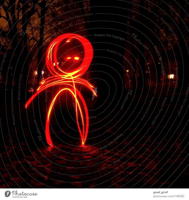 heute bin ich emo Licht Leuchtspur Strichmännchen Diode Strahlung Wald dunkel Nacht Lampe Glühbirne Blatt Herbst kalt gelb Wellen Teilchen Streifen Linie