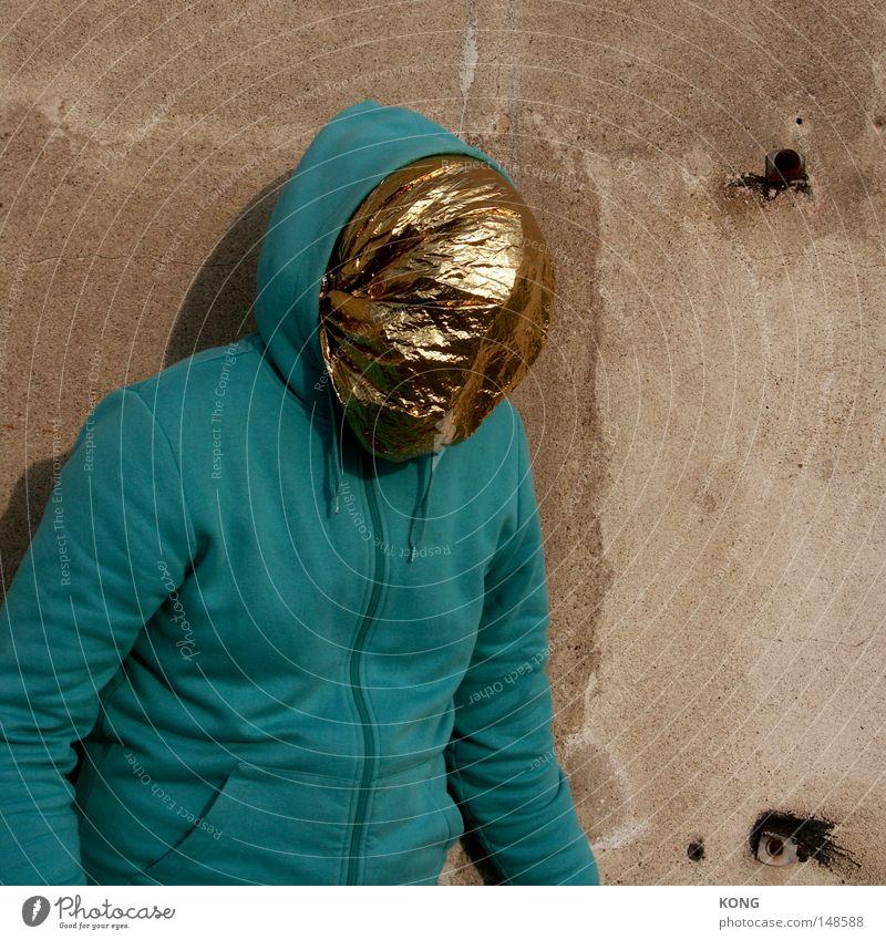 midas Mensch schön Gesicht Beleuchtung Metall Gold gold ästhetisch Maske Statue obskur Falte Strahlung verstecken Maschine