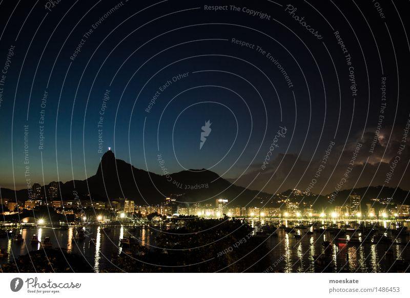 Gewitter Rio De Janeiro Bucht blau Rio de Janeiro Brasilien Corcovado-Botafogo Nacht Langzeitbelichtung Reflexion & Spiegelung Farbfoto Gedeckte Farben
