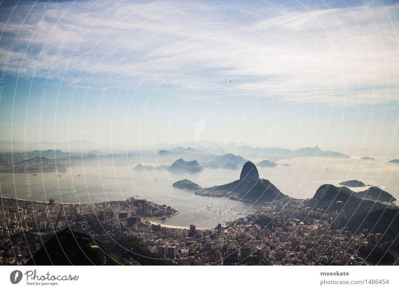 Rio De Janeiro Erde Himmel Wolken Sommer Schönes Wetter Küste Meer blau Brasilien Rio de Janeiro Bucht Corcovado-Botafogo Stadt Farbfoto Gedeckte Farben