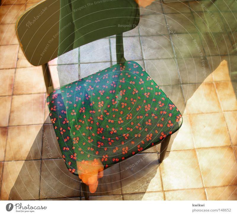 ich/du/er sie es // SITZT! grün rot Boden Bodenbelag Rose Küche Stuhl Fliesen u. Kacheln