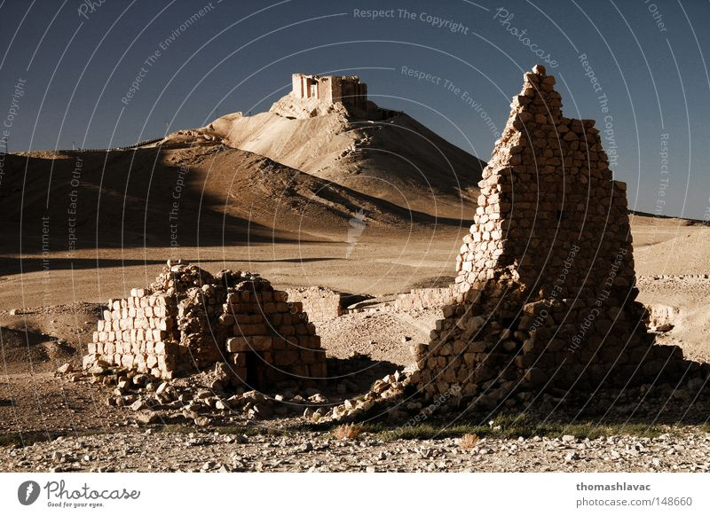 Sand Turm Wüste Asien Friedhof trocken historisch antik Syrien Grabmal Palmyra