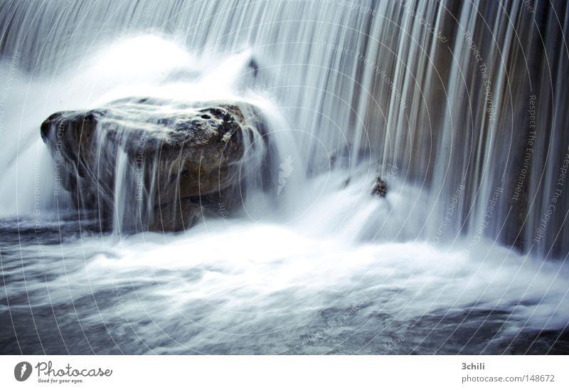 steter tropfen... Gedeckte Farben Außenaufnahme Menschenleer Tag Langzeitbelichtung Bewegungsunschärfe Zentralperspektive Natur Wasser Felsen Bach Fluss