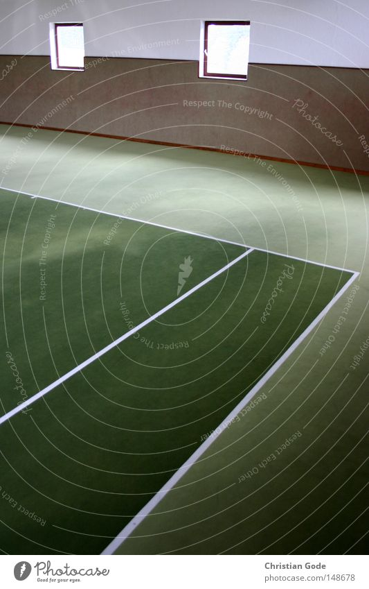 Tennisplatz mit Löchern in der Wand weiß grün Winter Fenster Sport Spielen springen Linie Freizeit & Hobby Treppe Geschwindigkeit Erfolg Netz diagonal