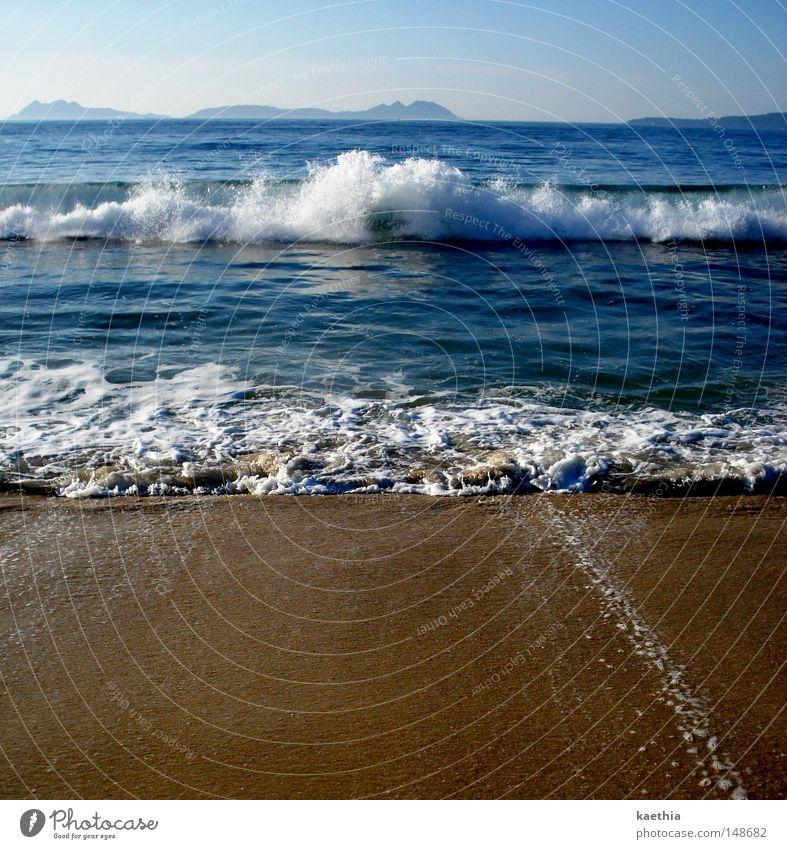 macht des atlantik Ferien & Urlaub & Reisen Sommer Strand Meer Insel Wellen Sand Wasser Wärme blau sprudelnd Süden Ferne Spanien Küste Horizont Schaum