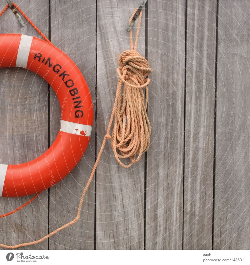 Bitte rette mich! Wasser Meer Wand Holz See Angst Seil Sicherheit Schnur Panik Rettung retten Rettungsring Holzwand Tod