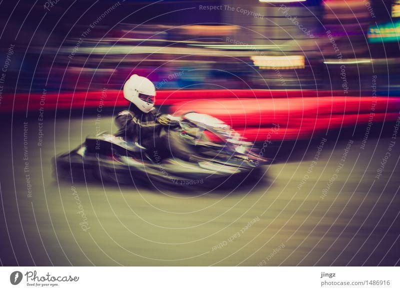 Zieh! zieh! zieh! Go-Kart Sport Motorsport Sportveranstaltung Mensch Mann Erwachsene 1 fahren Geschwindigkeit Freude Konzentration Mitläufer fokussieren