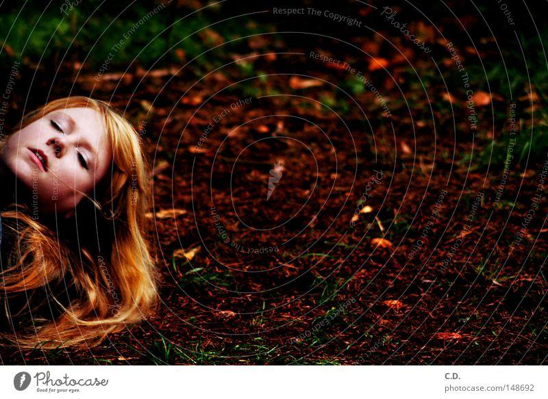 Herbst Frau schön weiß grün rot Gesicht Blatt schwarz gelb Tod Gras Haare & Frisuren Kopf blond