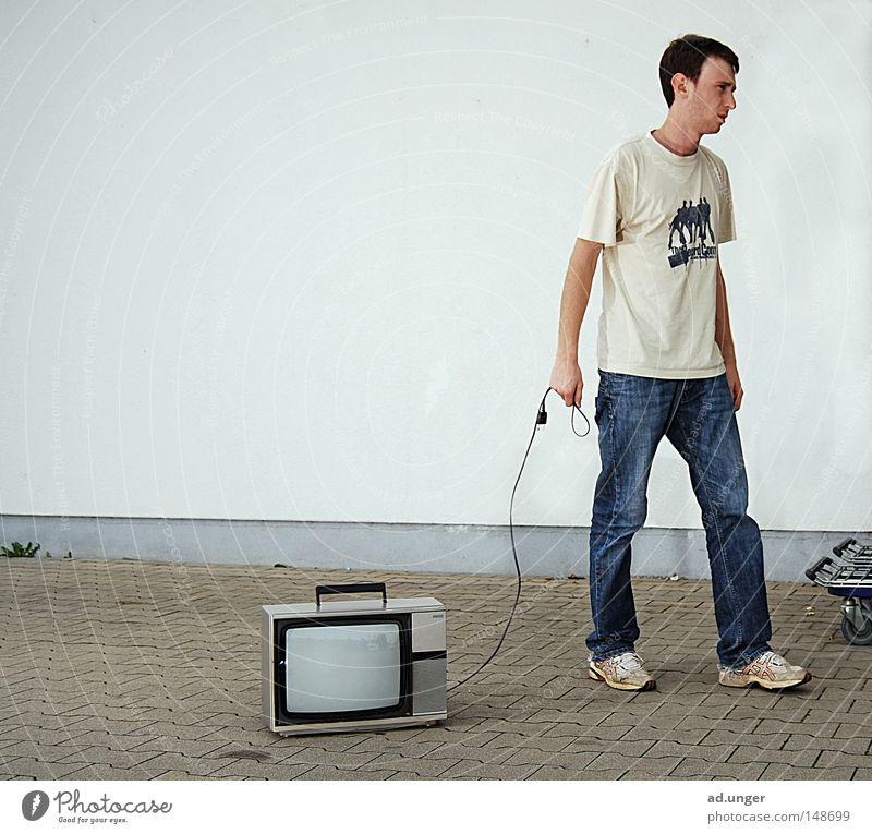 replacement Hund laufen Seil Technik & Technologie Fernsehen Wandel & Veränderung Medien führen Radio Zerstörung Entertainment Wert verwandeln