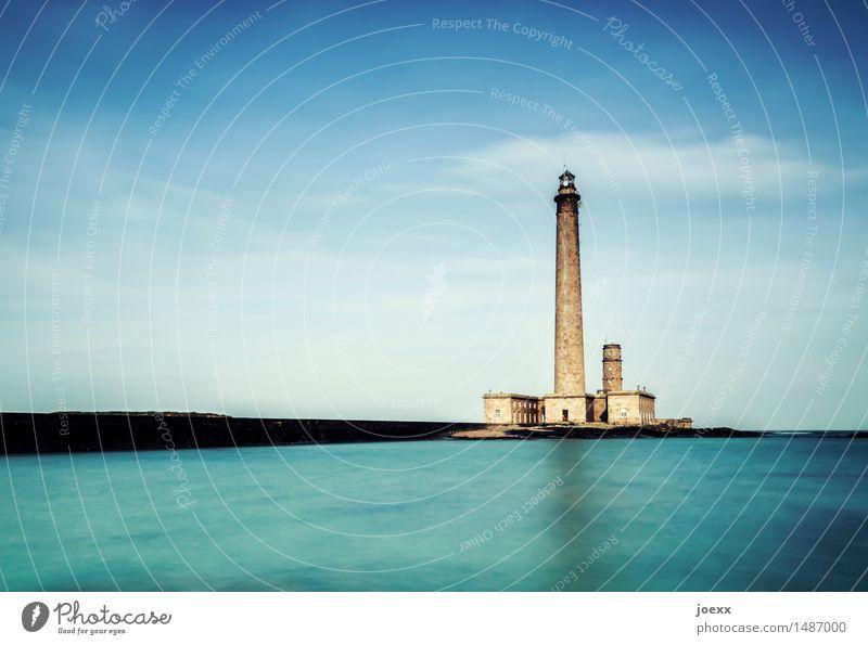 Großer Bruder Himmel blau grün Wasser Wolken schwarz braun Horizont hoch groß Hilfsbereitschaft Hoffnung Leuchtturm Orientierungspunkt