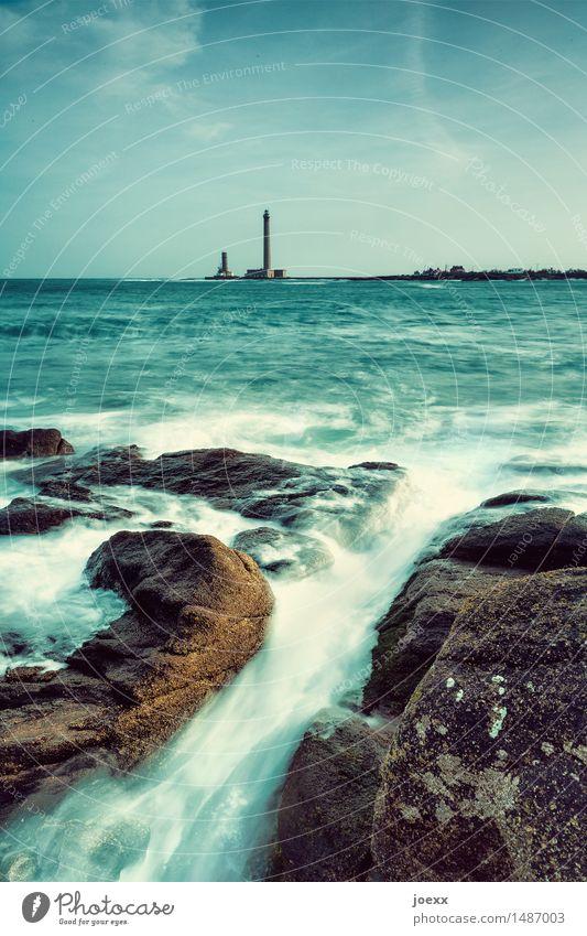 Unruhe Landschaft Wasser Himmel Schönes Wetter Felsen Küste Meer Leuchtturm Bewegung wild blau braun grün schwarz weiß Hilfsbereitschaft Hoffnung Horizont Natur