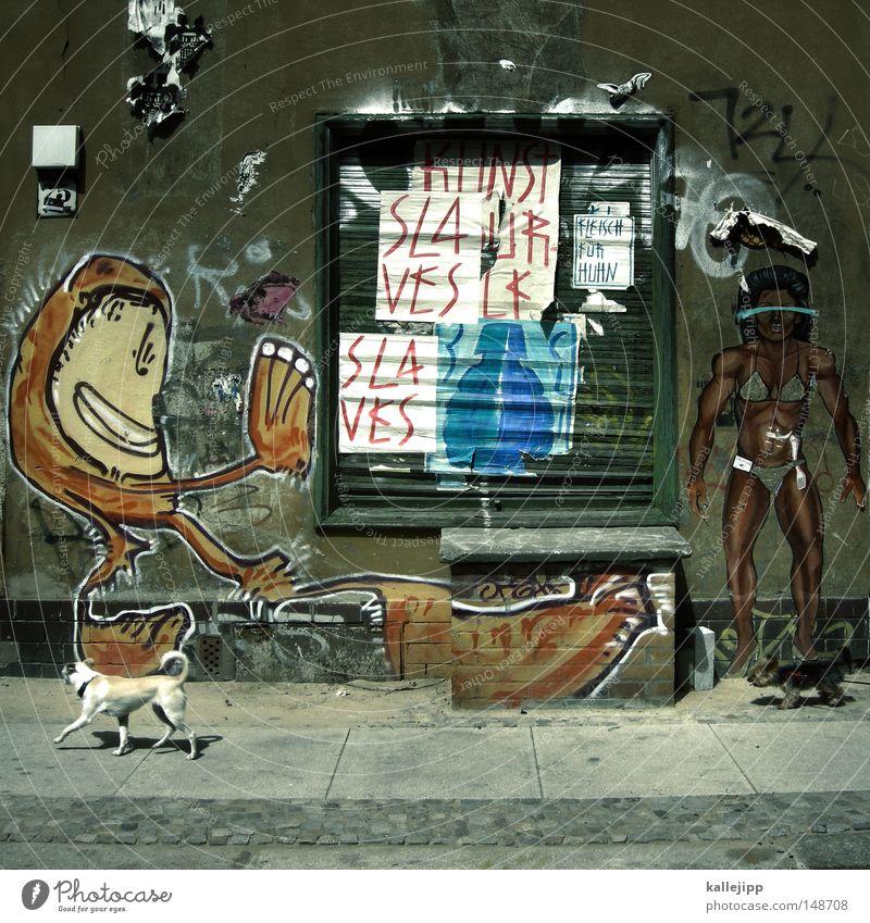 strassenfeger Straßenkunst Kunst Haus Wand Klebstoff Affen Hund Mensch Bürgersteig Stadt Untergebener Sklaven Bodybuilder Muskulatur Fenster Rollladen
