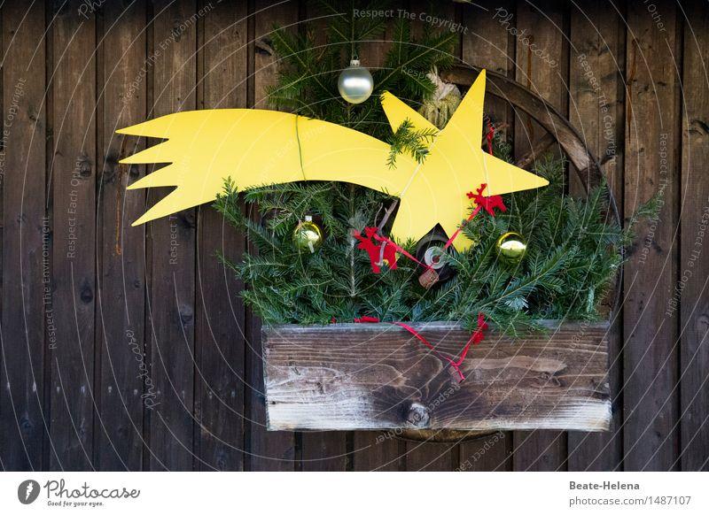 Bald ist Weihnachten Weihnachten & Advent rot Erholung gelb Wand Mauer Feste & Feiern braun Stimmung Dekoration & Verzierung gold ästhetisch Stern (Symbol)