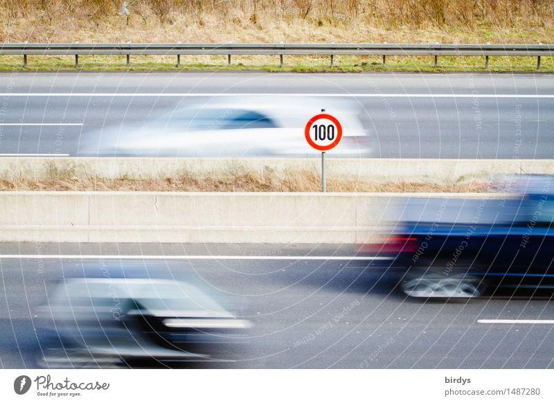 entspannte 100 Ferien & Urlaub & Reisen Niederlande Deutschland Verkehr Straßenverkehr Autofahren Autobahn Verkehrszeichen Verkehrsschild Geschwindigkeit
