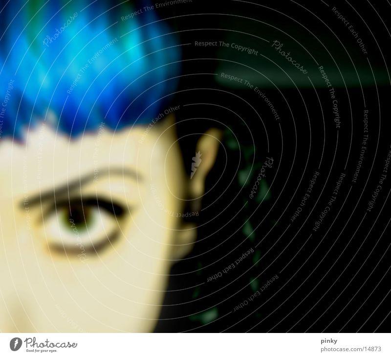 Betty Blue Unschärfe feminin Frau blau Anschnitt Blick Black Haare & Frisuren Hair Cross Face Gesicht direkter Blick Pony