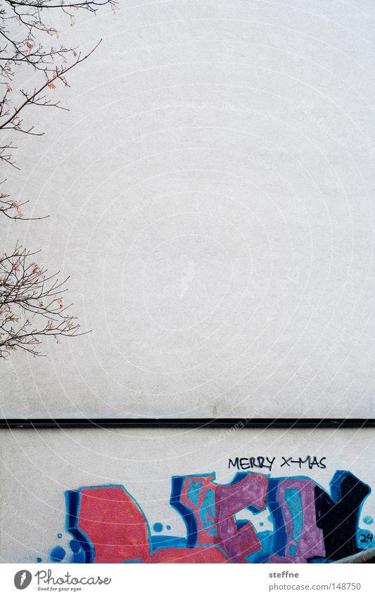merry x-mas Weihnachten & Advent Baum Haus Wand Graffiti Ast Wunsch