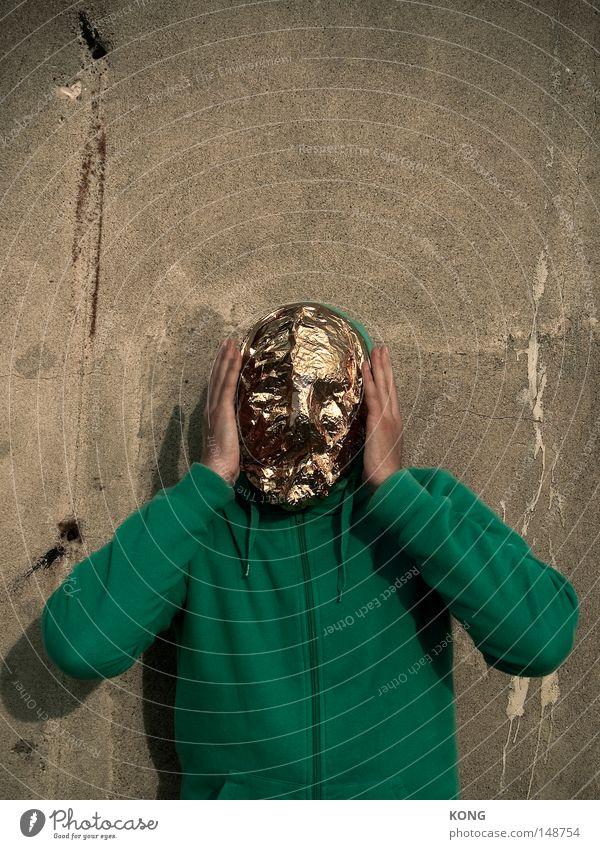 nicht sido Mensch Mann schön Gesicht Metall Beleuchtung gold Angst außergewöhnlich Gold ästhetisch geheimnisvoll Maske Falte Statue verstecken
