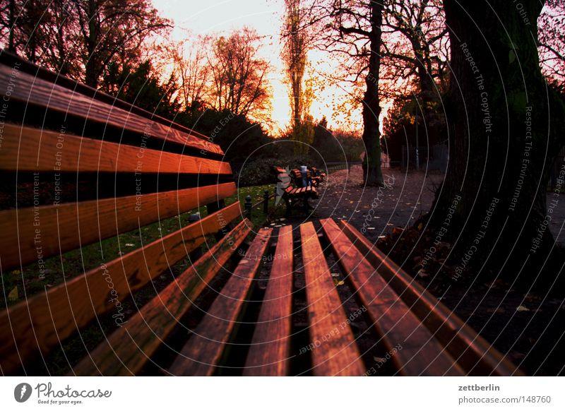Parkbank im Herbst ruhig Garten Traurigkeit leer Perspektive Trauer Vergänglichkeit Abenddämmerung November Oktober Bank Kreuzberg Vakuum