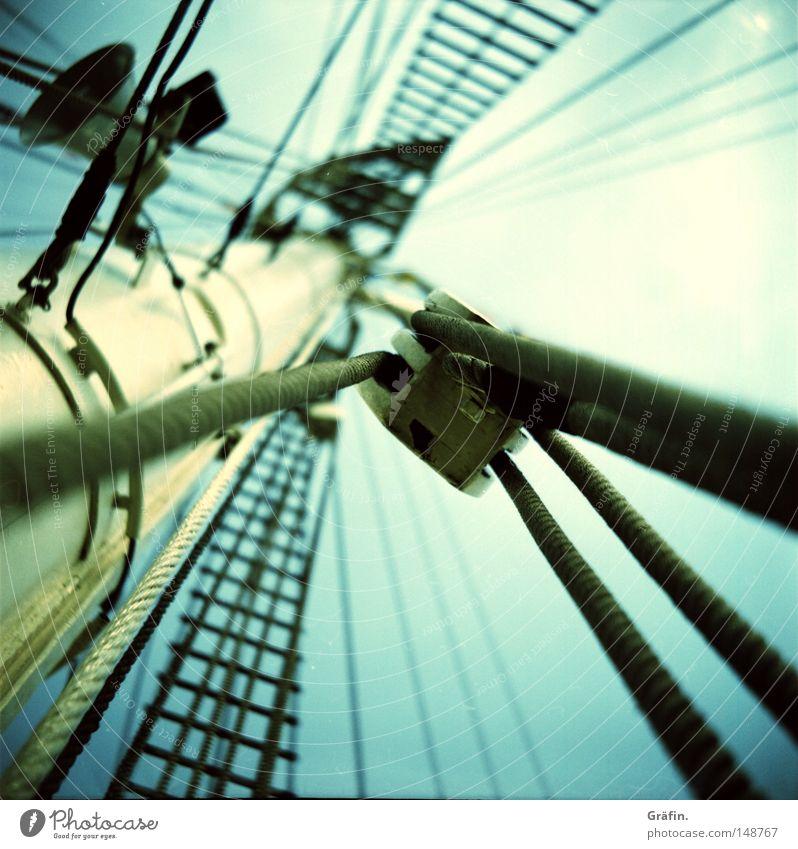 Hafengeburtstag Himmel grün Wolken Ferne Holz Wasserfahrzeug Seil Netz Schönes Wetter Aussicht Schifffahrt Segeln Russland Block Mast