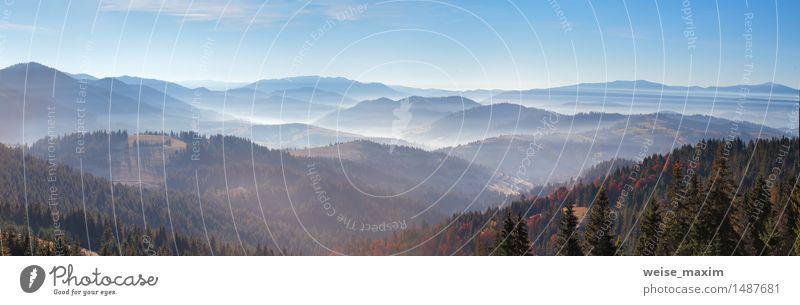 Herbstmorgennebel in den Bergen. Himmel Natur Ferien & Urlaub & Reisen blau schön Baum rot Landschaft Wald Berge u. Gebirge gelb Wärme Nebel Sträucher Aussicht