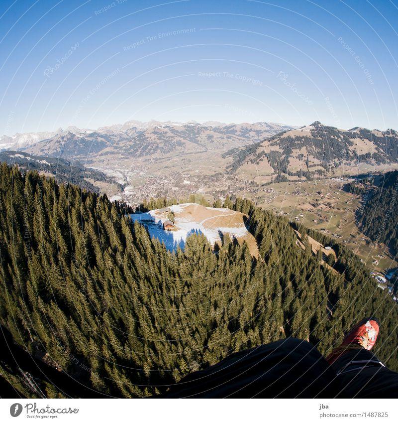 701 Flug nach Gstaad Erholung ruhig Freizeit & Hobby Ausflug Ferne Freiheit Berge u. Gebirge Sport Gleitschirmfliegen Fuß Landschaft Luft Himmel Winter