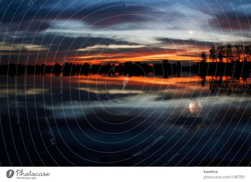 düstere abendstille Himmel Natur Wasser Wolken ruhig dunkel Herbst Stimmung See Nebel Mond bizarr erleuchten Surrealismus Abenddämmerung Norwegen