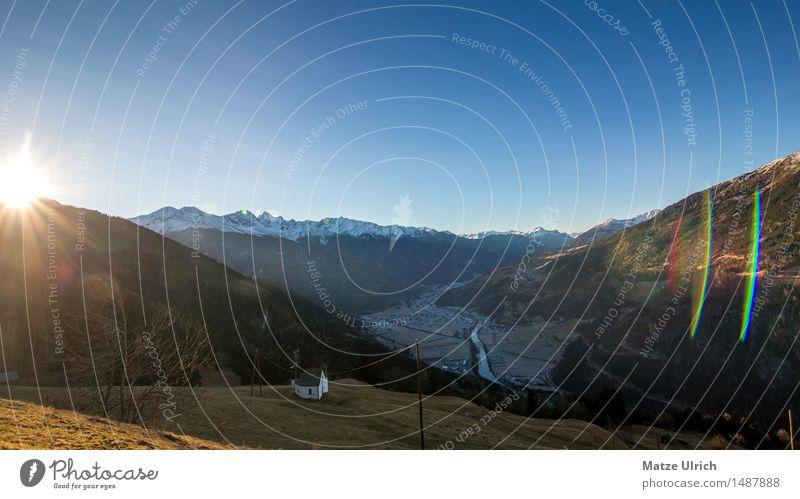 Tal im Schatten Natur Sonne Landschaft Ferne Winter Berge u. Gebirge Umwelt Schnee Felsen Schönes Wetter Gipfel Hügel Alpen Schneebedeckte Gipfel Dorf