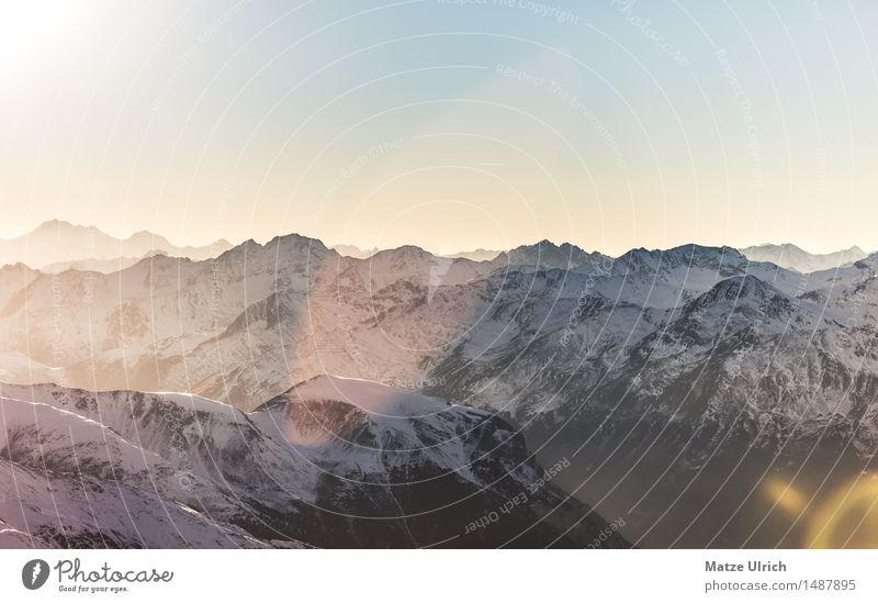 Bergsilhouetten Umwelt Natur Landschaft Himmel Wolkenloser Himmel Sonne Sonnenaufgang Sonnenuntergang Sonnenlicht Winter Schnee Hügel Felsen Alpen