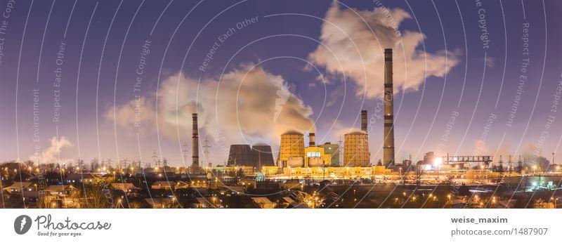 Kraftwerk in der Winternacht Himmel Stadt Landschaft Haus gelb Straße Schnee Gebäude Lampe Eis Aussicht Energie Europa Stern Industrie