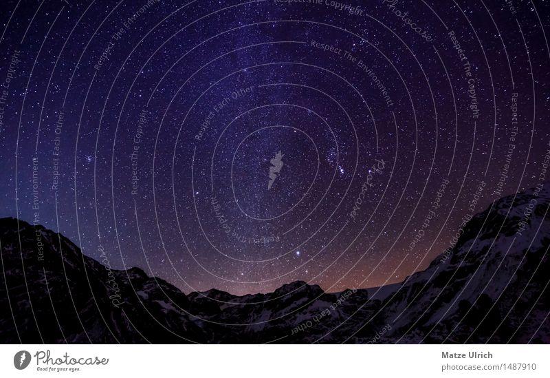 Sterne in den Bergen III Umwelt Natur Landschaft Wolkenloser Himmel Nachthimmel Winter Klima Wetter Schönes Wetter Hügel Felsen Alpen Berge u. Gebirge Gipfel