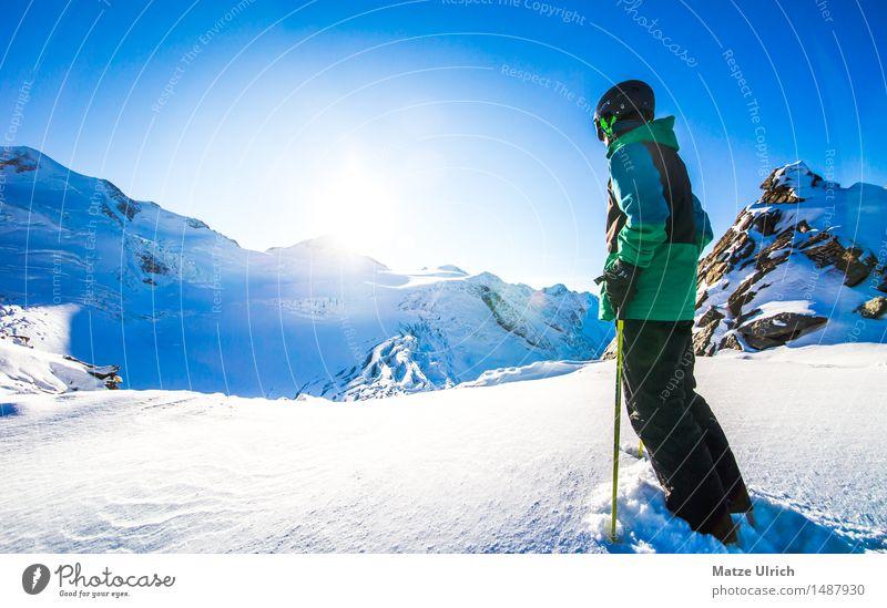 Ausblick auf Gletscher Mensch Himmel Natur Jugendliche Junge Frau Junger Mann Sonne Winter Berge u. Gebirge Umwelt Sport Schnee Schneefall Schönes Wetter