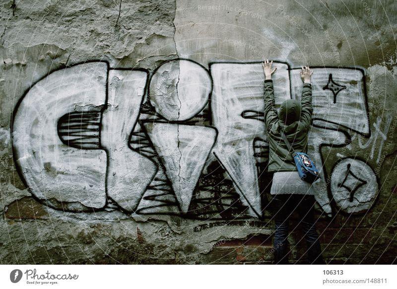 Cliff für Arme. Nichts für Hänger [This is really cheap] Graffiti Stadt Hinterhof Neustadt Wand Müll Typographie dumm Wissenschaften Extremsport cliff street dd