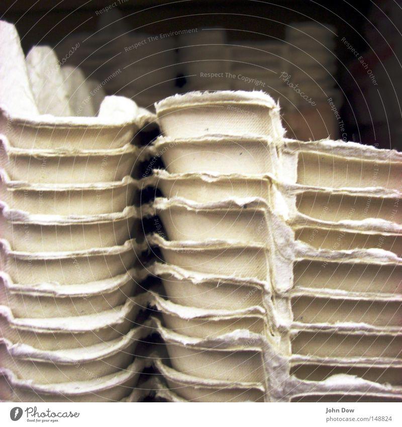 Legebatterie vs. Freilandhaltung Farbfoto Ostern Verpackung gewissenhaft Ei Spiegelei Rührei Eigelb Haushuhn Supermarkt Lager Vorrat Stapel aufbewahren