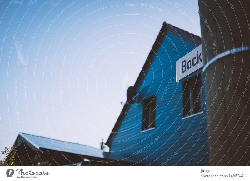 Hab Bock drauf! Himmel Stadt blau Haus Freude lustig Holz braun Häusliches Leben frei Schilder & Markierungen Schriftzeichen Lebensfreude Hinweisschild einzigartig Neugier