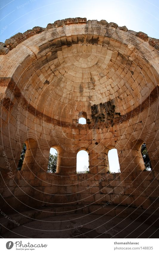Kuppel Kuppeldach Lebensmitte Syrien Ruine Wand Gotik Fenster Stein Kloster Tempel Gotteshäuser Asien Wüste Religion Architektur