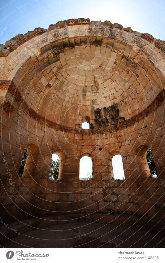 Wand Fenster Stein Architektur Wüste Asien Ruine Gotik Syrien Tempel Kuppeldach Kloster Gotteshäuser Naher und Mittlerer Osten Lebensmitte