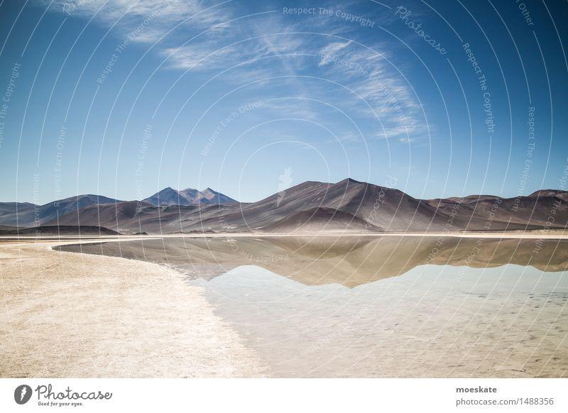 Anden Landschaft Urelemente Erde Sand Luft Wasser Himmel Wolken Sommer Schönes Wetter blau braun Chile Hochland Berge u. Gebirge See Seeufer
